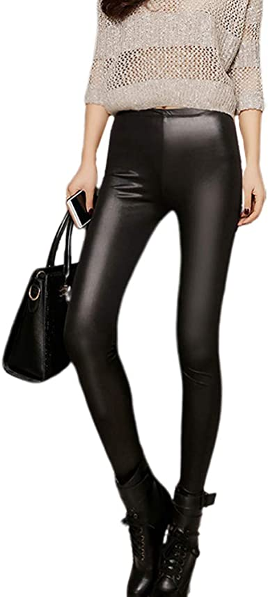 keep warm slim leather legging high waist skinny faux leather pants thick fleece