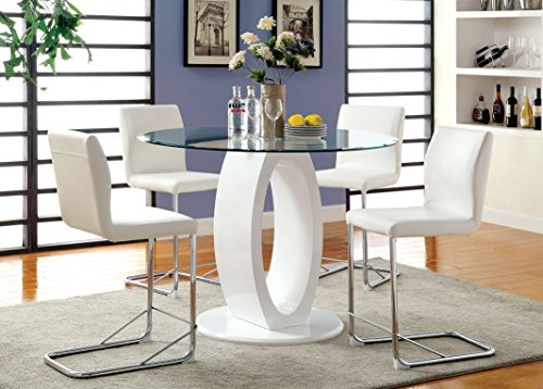 Furniture of America Quezon 5-Piece Round Glass Top Pedestal Pub Dining Set, White
