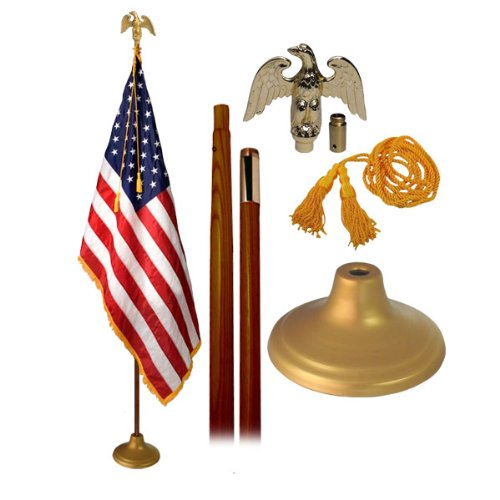 US Indoor Flag Set 3X5 Foot With 8 Foot Oak Flagpole