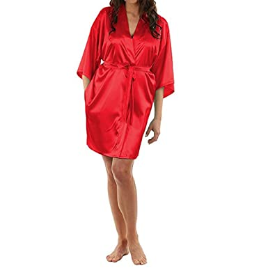 64e36bd24ea77 Image Unavailable. Image not available for. Color  shivam agencies  Collection Micro Satin Regular Size Red Color Womens Robes