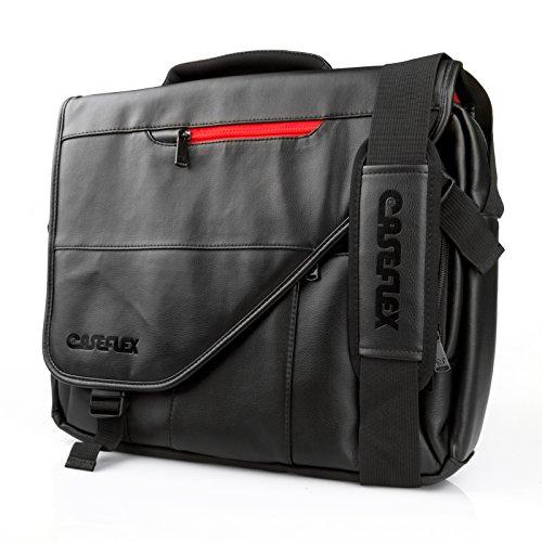 Caseflex Compatible For Messenger Bag - Black PU Leather Shoulder Bag – Black