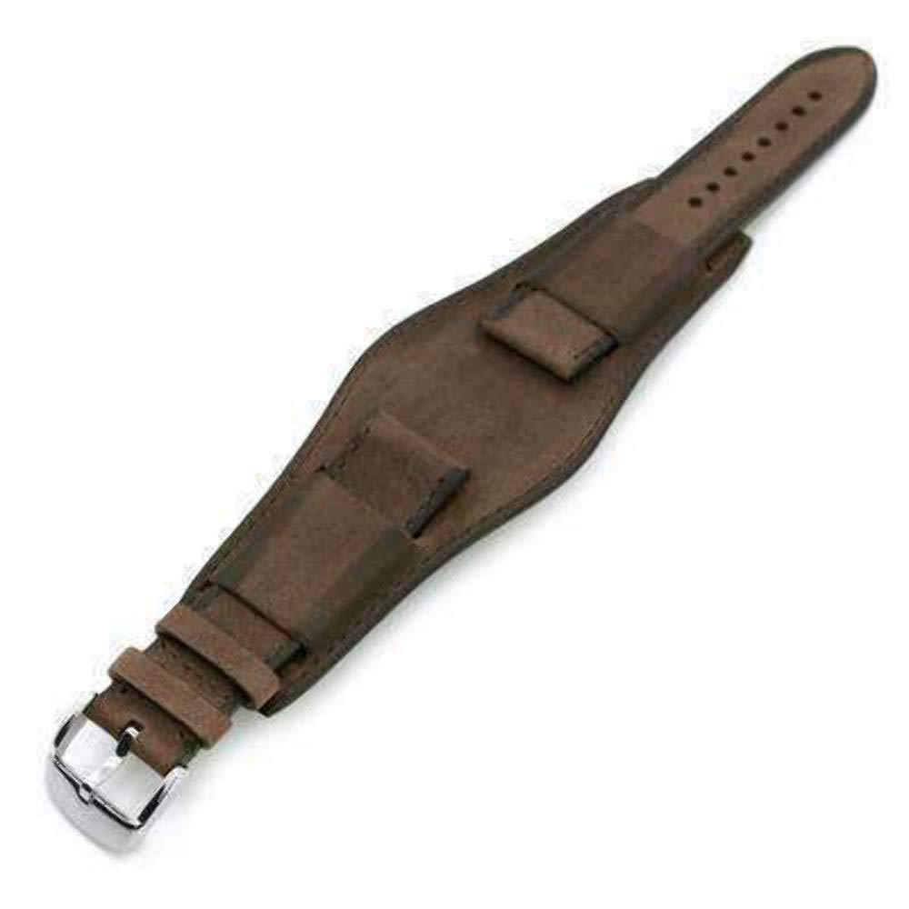22mm Italian Handmade Bund Military Style Double-Layer Watch Strap, Dark Brown