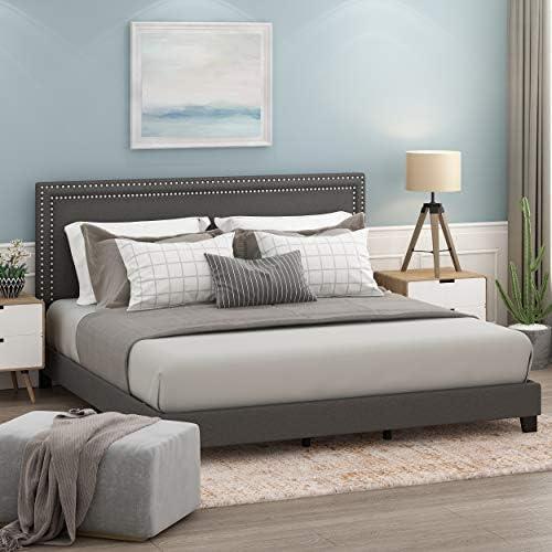 Furinno FB17023K-ST Laval Bed Frame, King, Stone