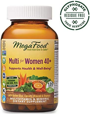 MegaFood, Multi for Women 40 , Supports Optimal Health and Wellbeing, Multivitamin and Mineral Dietary Supplement, Gluten Free, Vegetarian, 120 tablets 60 servings
