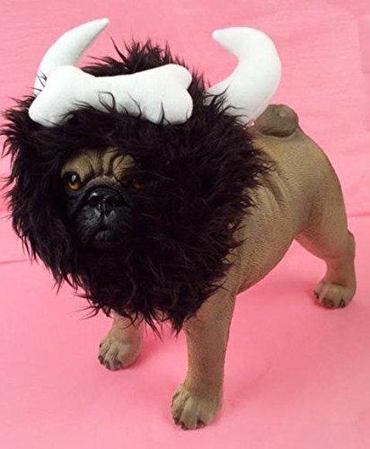 Dog Viking Costumes (Bone Viking Warrior Horn Headpiece Costume For Dogs Realistic Plush Fuzzy Mane(Large))