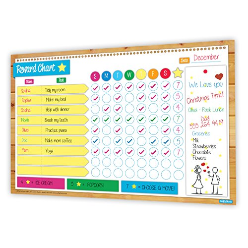 2018 Magnetic Reward and Chore Chart, Flexible Dry Erase Board, Family Chores, Behaviour Chart, Multiple Kids, Meal Planner, Bright Colors, Family Chores, Bonus Family Organiser Printables