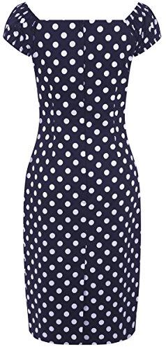 Dunkelblau Kleid Damen Collectif Dolores Dots mit weißen Punkte Retro Bleistiftkleid UYFqA1gwq