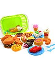 Leorealko Kitchen & Food Toys, Cooking Kits,Cookware,Kitchen Playsets,Play Food,Toy Kitchen Playsets,Toy Cooking Kits,DIY & Tools,34 PCS Fun Play Food Set for Children Kitchen Cooking Kids Toy