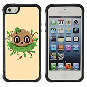 Hybrid Anti-Shock Defend Case for Apple iPhone 5 5S / Cute Wooden Skull
