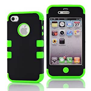SHHR-HX4G60N Hybrid Cover Case for Apple iPhone4 4s 4G - Black/Green