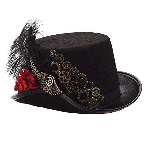 GRACEART Steampunk Black Feather Gears Top Hat (Red Rose)
