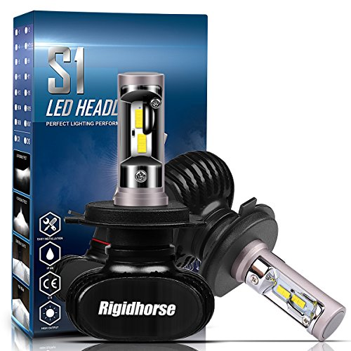 Rigidhorse H4(9003,HB2) LED Headlight Bulbs With CSP Chips 60W 8500LM 6500K Cool White Hi/Lo Beam LED Headlight Bulbs All-in-One Conversion Kit, Black, 2 Years Warranty