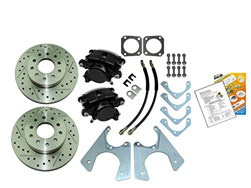 Compatible With 1964-1977 GM 10 12 Bolt Rear Axle End Disc Brake Conversion Kit Set Slotted ROTORS