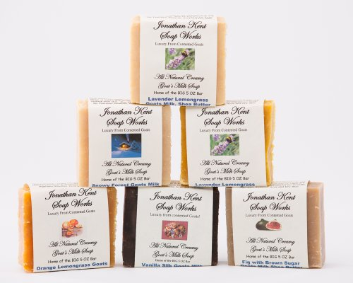 Jonathan Kent Goats Milk Soap Bars - SWEET MEADOWS 6 Pack Sampler - Creamy Goats Milk, NO WATER, Fig/Pomegranate, Lavender Lemongrass, Sweet Morning Rose, Lavender Chamomile, Sweet Jasmine, White Lily -