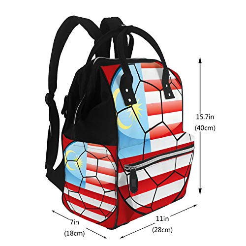 Diaper Bag Backpack, Large Capacity Baby Nappy Changing Bag Malaysia Flag On Soccer Ball Multi-Function Waterproof Travel Back Pack