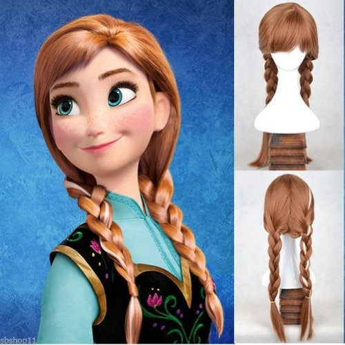 Hiliss Cosplay Costume Hair Wig Brown Party Wig Anna ()