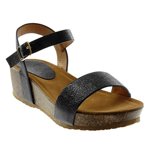 Angkorly Women's Fashion Shoes Sandals Mules - Ankle Strap - Platform - Shiny - Grained - Cork Wedge 5 cm Black
