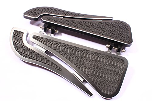 GCT M29-4 BLACK (2) FRONT BILLET FOOTBOARD FLOORBOARDS HARLEY TOURING STREET GLIDE ROAD KING ELECTRA GLIDE &FL SOFTAIL ULTRA CLASSIC FAT BOY 80-13