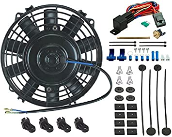 "10/"" INCH ELECTRIC COOLING FAN 12 VOLT PUSH-IN RADIATOR FIN PROBE THERMOSTAT KIT"