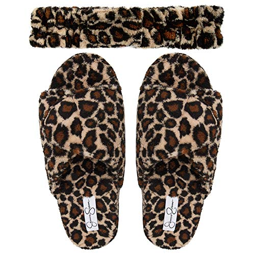 Jessica Simpson Women's Plush Open Toe Adjustable Slide On Spa Slipper and Stretch Headband Set