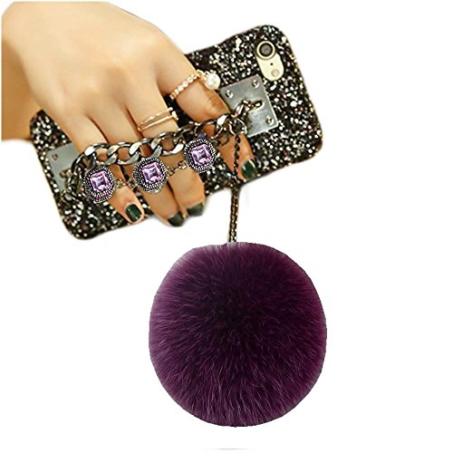 For iPhone 7 Plus/8 Plus case, Luxury DIY Handmade Bling Diamond Rhinestone Pendant Fur Ball Chain Hard Case (Purple, iPhone 7 Plus/iPhone 8 Plus)