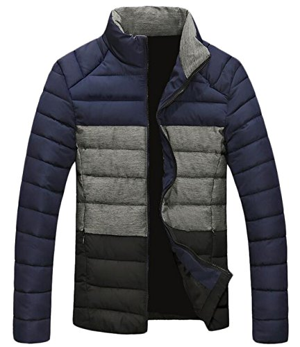 Winter Jacket S US Down Men's Color Contrast Up EKU Zip Blue Coat Warm A5T8qHxw