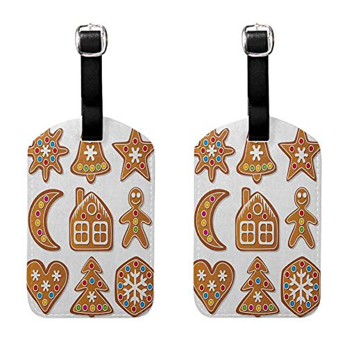 Gingerbread Man luggage tag strap Set of Graphic Gingerbread Sugar Biscuits Colorful Dots and Bonbons Brown Multicolor (2 PCS)
