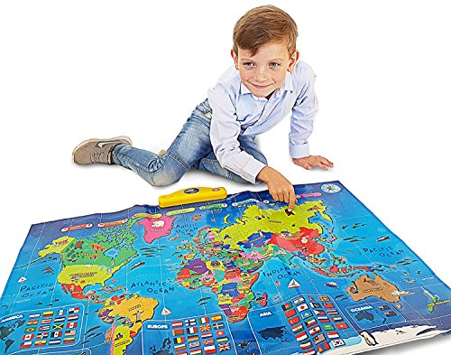 Interactive Talking World Map for Kids TG661 - Push, Learn and Discover Over 1000 Facts About Our World – Ideal Interactive Learning Toy Gift for Boys & Girls Aged 5,6,7,8,9,10 - by ThinkGizmos -