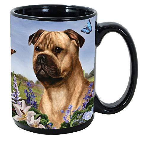 Imprints Plus Dog Breeds (R-Z) Staffordshire Bull Terrier Fawn 15-oz Coffee Mug Bundle with Non-Negotiable K-Nine Cash (staffordshire bull terrier 176c)