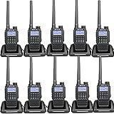 Retevis RT87 Two Way Radios IP67 Waterproof Long Range Louder Speaker Walkie Talkies (Black,10 Pack) with FM Function