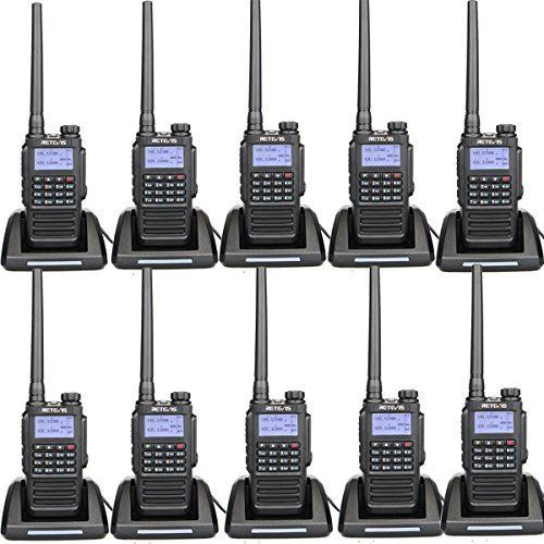 Retevis RT87 IP67 Waterproof 2 Way Radios Dual Band Long Range Rugged Emergency Outdoor Walkie Talkies (Black,10 Pack)