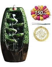 INONE Ceramic Incense Holder, Waterfall Backflow Incense Cone Burner, Free 30 pcs Incense Cone