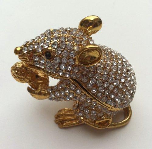 Bejeweled Rat Mouse Statue Trinket Jewelry Box