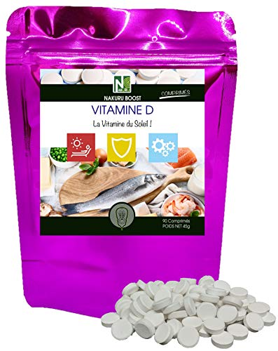 """Vitamine D / NAKURU Boost / Fabriqué en France / """"La Vitamine du Soleil!"""" (90 Comprimés de 500mg / Poids Net: 45g)"""