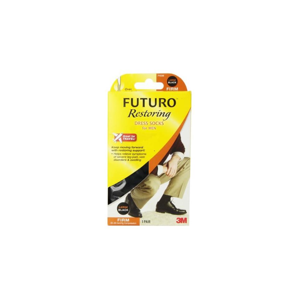 Futuro  Firm (20 30 mm/Hg) Dress Socks for Men, Black