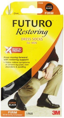 Futuro Men's Firm 20-30 mm/Hg Dress Socks, Black, Large