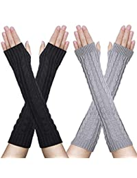 2 Pairs Womens Winter Knit Long Fingerless Gloves Thumbhole Arm Warmers Mitten