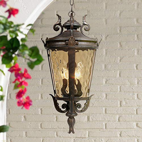 "Casa Marseille Traditional Outdoor Ceiling Light Hanging Mediterranean Veranda Bronze Scroll 23 3/4"" Champagne Hammered Glass Damp Rated for Exterior House Porch Patio - John Timberland"