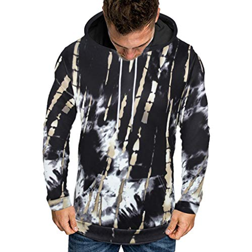 Qinnyo Tops for Men's Tshirts Fashion Hooded Halloween Jacket Lover 3D Print Party Long Sleeve Hoodie Blouse Coat M-5XL Black (Wie Ein Nerd Für Halloween)