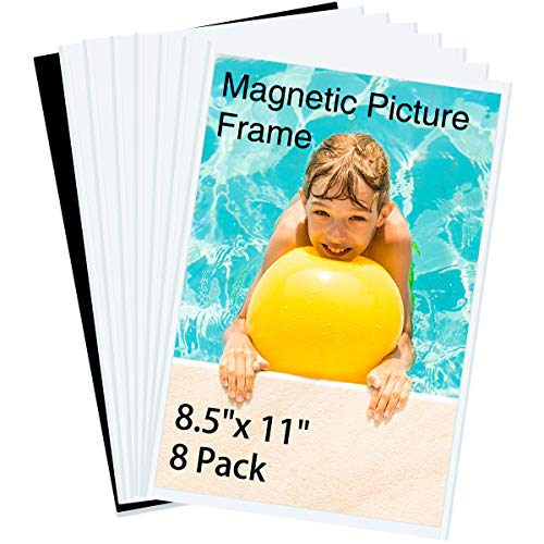 HIIMIEI Magnetic Photo Frames for Refrigerator 8.5x11, 8 Pack Fridge Magnets Picture Frame Photo Pocket,Perfect for Displaying Frames,Children Artworks and Schedules