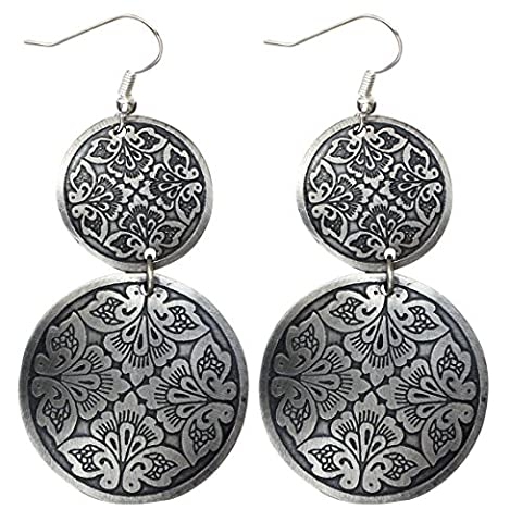 Today Sale - Earrings for Her - SouvNear Antique Look Earrings Set - Small & Large Round Discs - Botanical Blooms - Black & Silver-Tone - Women Fashion Jewelry