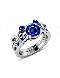 Gemstar Jewellery Brillaint Cut Blue Sapphire White Gold Finish Engagement Mickey Mouse Ring Set