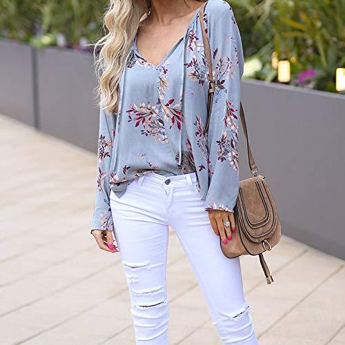 VJGOAL Nouvelle Bleu Blouse Mode Impression V Tunique Chemises DContract Tops Femmes Manches Floral Clair Longues Cou AFfwHq