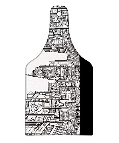 Lunarable New York Cutting Board, Times Square with Traffic Jam and Sketch Adverts Hand Drawn Urban City, Decorative Tempered Glass Cutting and Serving Board, Wine Bottle Shape, Charcoal Grey White