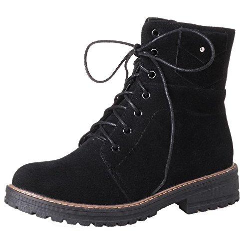 Tonda Allacciare Shoes Stivali Ageemi Suede Basso Tacco Punta Eux122 Puro Noir Donna 8dwqxEwC