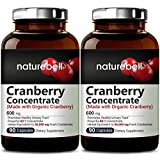 Organic Cranberry Whole Fruit Concentrate, 90 Capsules, Equivalent to 36,000mg of Fresh Cranberries, Strongly Supports Urinary Tract Cleanse, Kidney and Bladder Health (2 Packs)