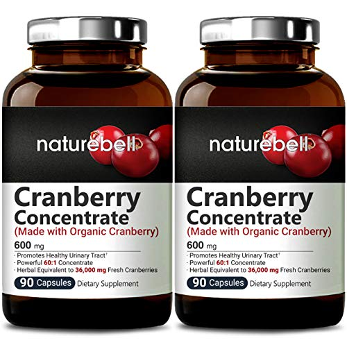 Organic Cranberry Whole Fruit Concentrate, 90 Capsules, Equivalent to 36,000mg of Fresh Cranberries, Strongly Supports Urinary Tract Cleanse, Kidney and Bladder Health 2 Packs