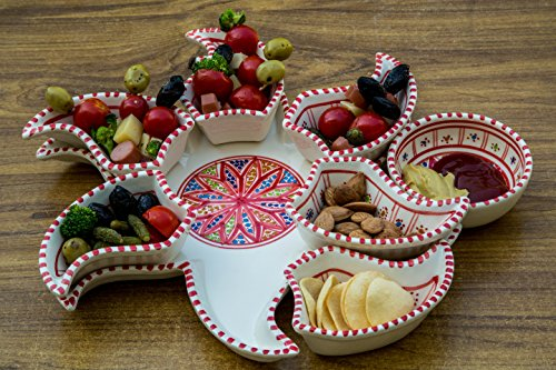 Hand Painted Chip - Red Star Dippers, 8 Pieces of Ceramic Dipping and Serving Plates Handmade, Chip and Dip Hand-painted - Gifts, Wedding Gifts Birthday Celebration and Housewarming Gifts, Labor Day Celebration