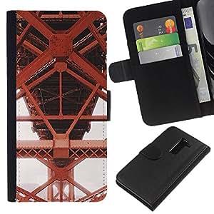 iBinBang / Flip Funda de Cuero Case Cover - Iron Red Structure Construction - LG G2 D800 D802 D802TA D803 VS980 LS980