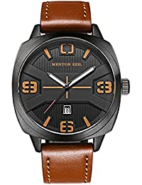 Mens Watches Brown Leather Strap Fashion Business Waterproof Analog Quartz Casual Dress Wrist Watch, Black (Brown)